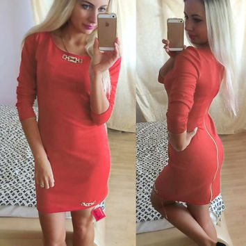 Casual Long Sleeves Slim Office Daily Dress