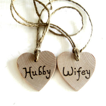 Wedding wine glass charms. Wedding tags. (Set of 2) custom Wedding wooden keepsake hearts Hubby and Wifey tags Rusic Wedding woodland