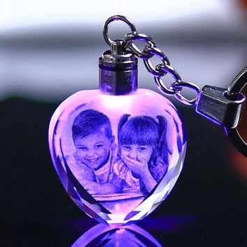 Custom Made Crystal Picture Frame Heart Shape Glass Mini Photo Frame LED Light