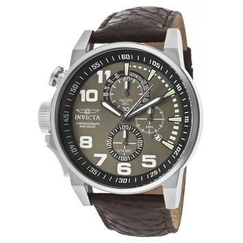 Invicta 13054 Men's I-Force Lefty Olive Green Dial Leather Strap Chronograph Stainless Steel Watch