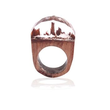 High Quality Wooden Undersea Resin Wood Ring for Women Men Finger Jewelry Beautiful Gift