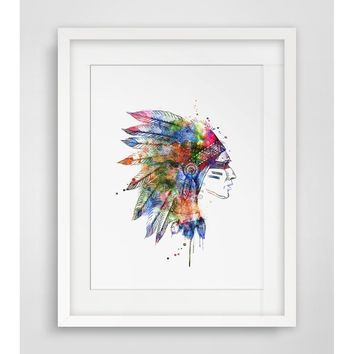 Indian Headdress Art Paper  Poster Watercolor Headdress  Art Print Watercolor Fine  Painting Headdress  Watercolor Wall Hanging