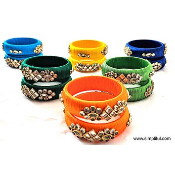 Silk Thread kundan stone work Pair Bangle - Kids - More designs