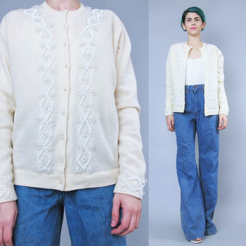 1950s Floral Beaded Cardigan Butter Yellow Cardigan Vintage Lambswool Cardigan Embellished Cream Cardigan Retro Fancy Evening Cardigan (S/M)