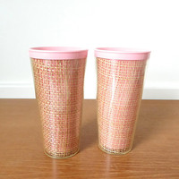 Two pink raffiaware insulated tumblers, iced tea tumbler in excellent condition, 12 ounce capacity