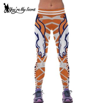 [You're My Secret] 2017 Women Leggings High Waist Elastic Tiger Sporting BRONCOS Team Leggins Workout Jegging Legging