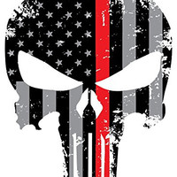 Punisher Red Line Skull 5.5 x 4 Inch Tattered Subdued Us Flag Reflective Decal Honoring Firefighters, EMT, Paramedics