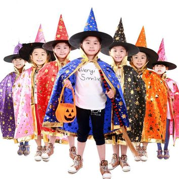 Halloween Kids Witch Cosplay Cloaks Magician Stage Show Performance Cloaks Child Witch Vampire Dresses with Hat Halloween Party