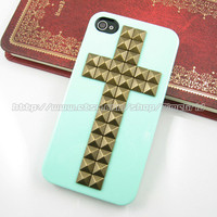Green iphone 4 hard case,Cross Antique Bronze studded iphone 4 4g 4s case,stud studs pyramid hard cover skin case for iphone 4/4g/4s case
