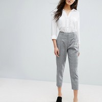 New Look Cropped Tailored Check Trousers at asos.com