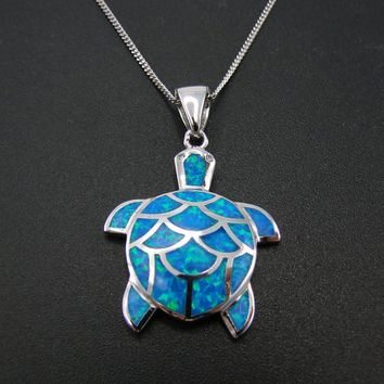 Sterling Silver Sea Turtle Blue Fire Opal Pendant