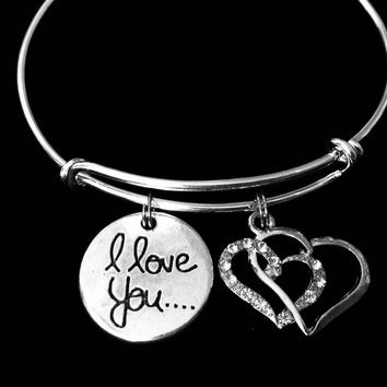 I Love You Double Heart Jewelry Adjustable Bracelet Expandable Silver Charm Bangle One Size Fits All Gift Trendy