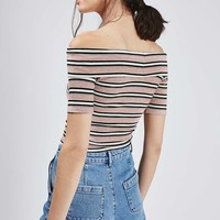 TALL Stripe Bardot Crop - Topshop