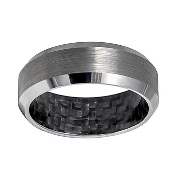 Brushed Tungsten with Black Carbon Fiber Inside Inlay Men's Eternity Ring