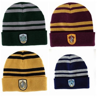 Harry Potter 4 College Hats Gryffindor Cap Slytherin Beanies Ravenclaw Skullies Winter Hat [9221942916]
