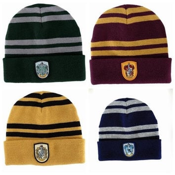 Harry Potter 4 College Hats Gryffindor Cap Slytherin Beanies Ravenclaw Skullies Winter Hat [9305890567]