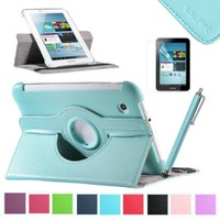 Galaxy Tab 2 Case ULAK Samsung Galaxy Tab 2 7.0 Case Aqua Blue 360 Degree Swivel Rotating Flip Lychee PU Leather Case Cover Stand for Samsung Galaxy Tab 2 7.0-inch P3100/ P3110/ P3113/P6200 + Screen Protector + Stylus