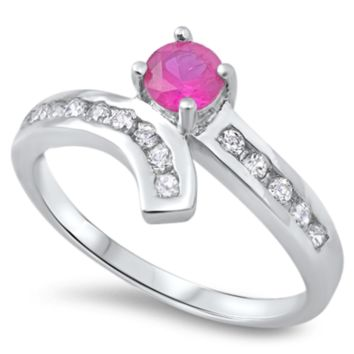 .925 Sterling Silver Ruby Solitaire Ladies Ring Size 5-9 Red Brilliant Round Cut Engagement