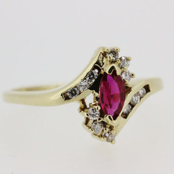Vintage Gold Ring Ruby Ring Diamond Ring 10k Yellow Gold Ring Cocktail Ring Estate Ring Promise Ring Navette Ring Marquise Ring Size 5.75