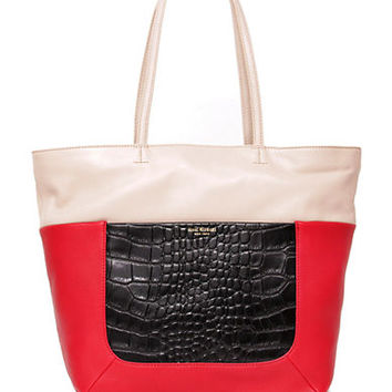 Isaac Mizrahi New York Lillian Leather Double Handle Tote Bag