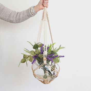 Beige macrame plant hanger, dyed plant hanger, pot plant holder, plant hanging basket, rope pot planter, indoor planter, terrarium holder
