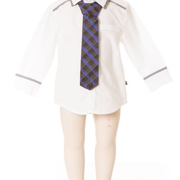 Deux Par Deux Petit Gentleman Boy's White Dress Shirt with Blue and Black Check Tie Fall 2014