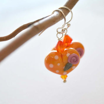 Romantic Orange Heart Earrings, Lampwork Glass Beads on Sterling Silver, Valentines Day Jewelry