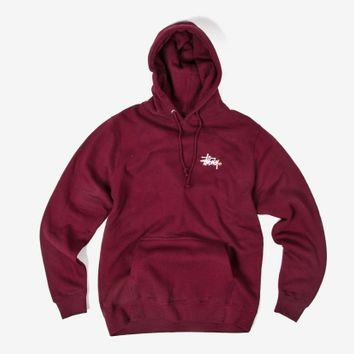 Stussy Basic Logo Pullover Hoody - Wine | The Chimp Store