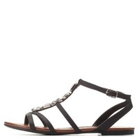 Black Gem-Embellished Strappy Flat Sandals by Charlotte Russe