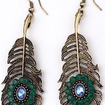Boho Opal Sapphire Leaf-shape Earrings