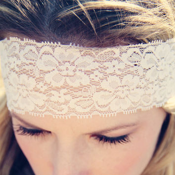 Bohemian Stretch Lace Headband Boho Style Beautiful by Murabelle