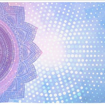 Reiki Charged Trippy Mandala Tapestry Purple Distressed Tapestry Wall Hanging Meditation Yoga Grunge Hippie