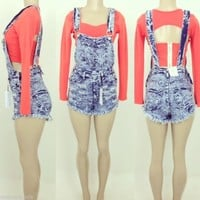High Waist Blue Acid Wash Destroyed/Ripped Jean Bib Short Overalls Sizes S-M-L