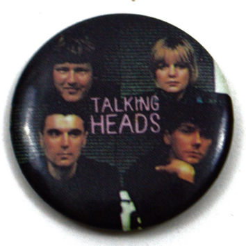 Vintage 80s Talking Heads Pinback Button Pin Badge