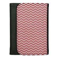 Red and White Wavy Stripes Wallet For Women