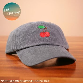 Cherries Embroidered Baseball Hat, Embroidery Dad Hat, Embroidered Baseball Cap, Girlfriend Gift, Best Friend Gift