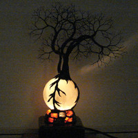 Full Moon rising Wire Tree Of Life Duo Spirits sculpture on natural silky White Selenite Sphere with Gemstones Lamp, original art  LP13