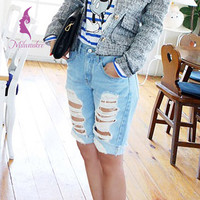 Milwaukee Large Size Women Denim Jeans England Style Hole Ripped Pockets Low Waist Knee Length Distressed Mujer Pants K340M