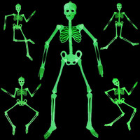 90cm 150cm Halloween Decoration Luminous Movable Skull Skeleton Halloween Props Party Bars Glow In The Dark Hanging Decorate