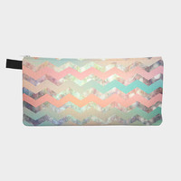 carry-all bag- craft organizer- makeup bag- pencil case- coin purse- chevron design- pastel colors- light green- pink- orange- gift for her
