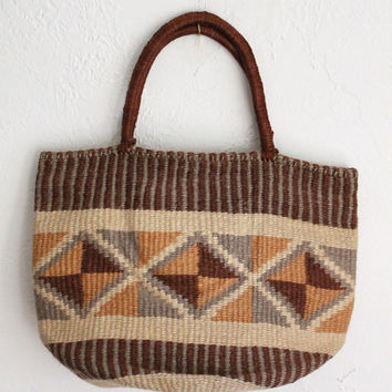 Vintage 70s Neutral Geometric Jute Market Tote // Natural Woven Sisal Bag