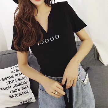 """Gucci"" Women Casual  Simple Letter Print Short Sleeve V-Neck T-shirt Tops"