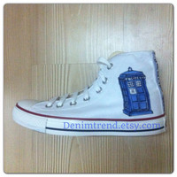 Tardis Shoes converse handpainted custom shoes