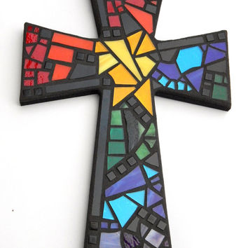 "Large Mosaic Wall Cross, Black with Rainbow Glass, 15"" x 10"", Handmade Stained Glass Mosaic Design"