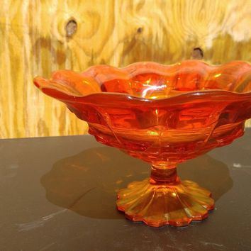Vintage 1960's orange carnival glass pedestal candy dish