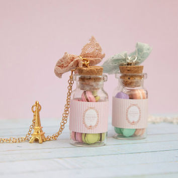 Laduree Macarons Bottle / Laduree Inspired Jewelry / French Macarons pendant / Bottle Charm Pendant / Maison Laduree / Miniature Food /