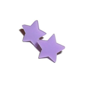 Lilac Star Earrings, Kawaii Cute Lavender Fairy Key Dainty Stud Earrings