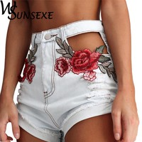 Summer High Waist Shorts 2017 Denim Jeans with Embroidery Streetwear Ripped Shorts Jeans Worn Hole Female Hollow Out Sexy Shorts