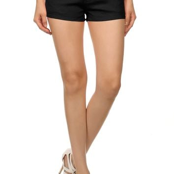 Stretchy Cotton Short Shorts for Women Twill, Denim Stretch with Pockets