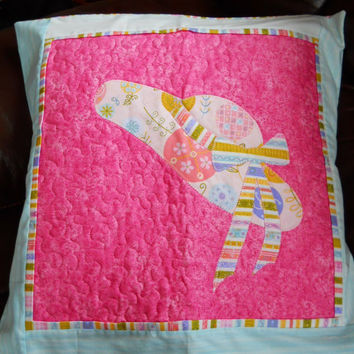 Pink Summer Bonned Cushion - Easter Bonnet Cushion cover . Personalised with Child's name . Pillow cover